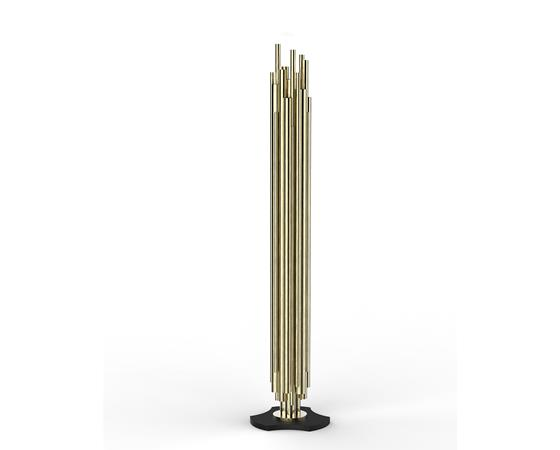 Contemporary Lighting Brubeck brushed brass floor lamp by DelightFULL