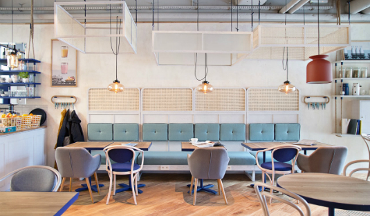 Contemporary Lamps Bright Up This Scandinavian Coffee Shop in Sopot