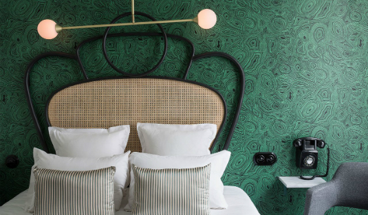 Panache Hotel in Paris is an Art Deco and Mid-Century Lighting Wonderland