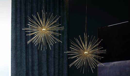 Contemporary Lighting Ideas A Gold Plated Suspension Lamp FEAT