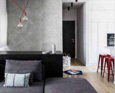 A contemporary interior design project with vivid color accents