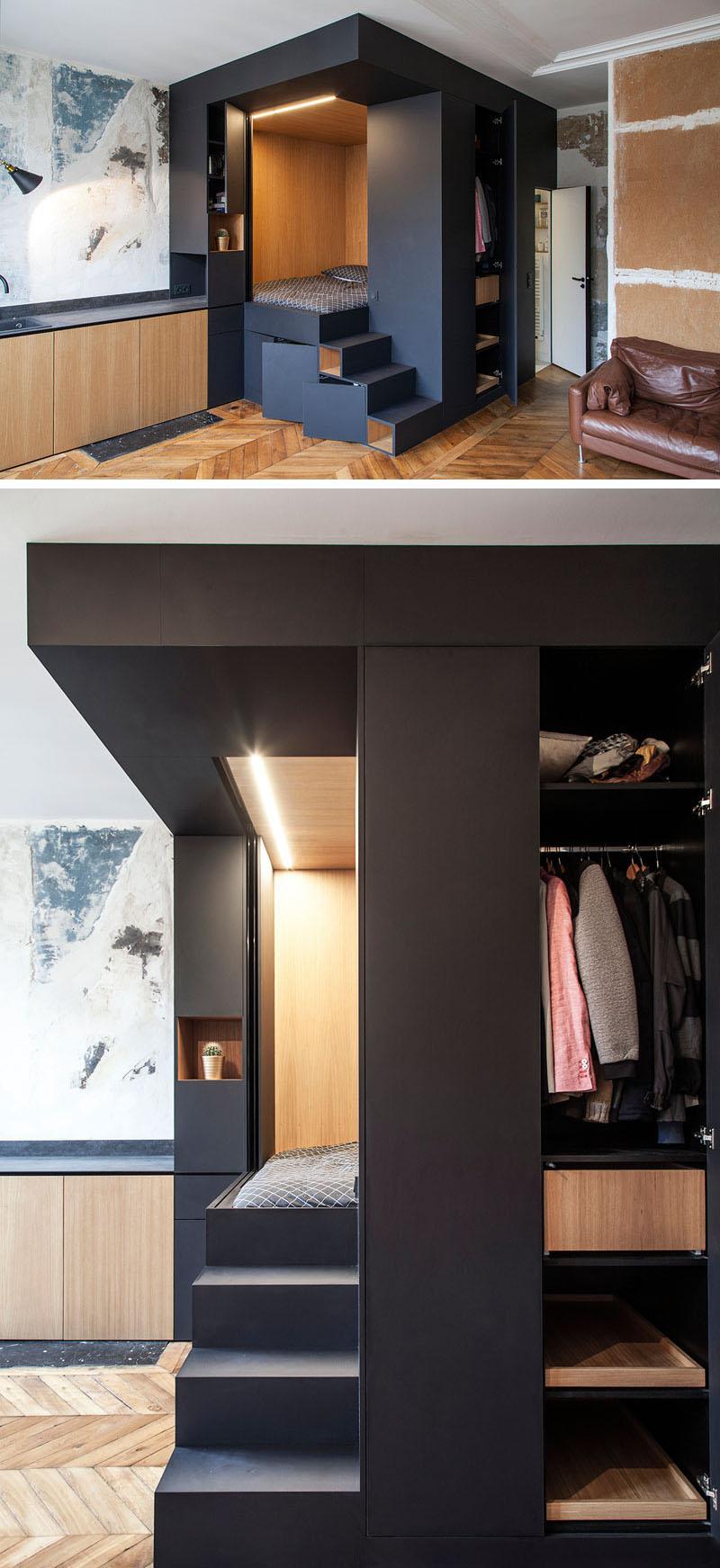 Custom Bedroom Design Box With Unique Contemporary Light 3