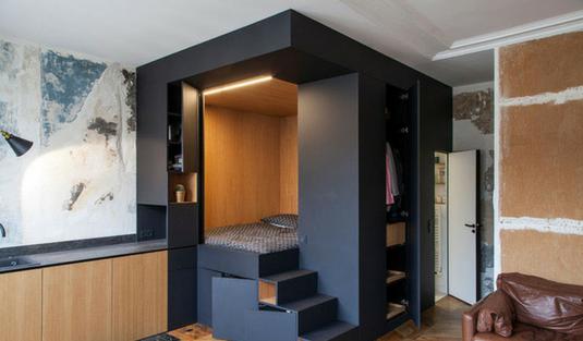 Custom Bedroom Design Box With Unique Contemporary Light