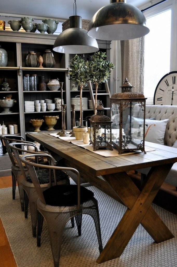 industrial dining room Industrial Dining Room Decor With These Mid-Century Lamps! 27 Awesome Rustic Kitchen Table Ideas 1 1 681x1024